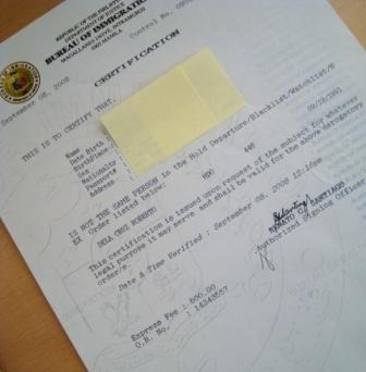 Bureau of Immigration Certification